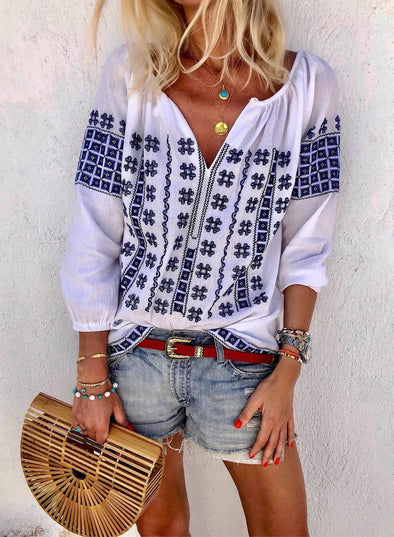 3/4 Sleeve Embroidery Blouse