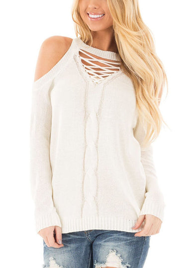 Cold Shoulder Lace up Detail Knit Sweater Top (LC27672-1-1)