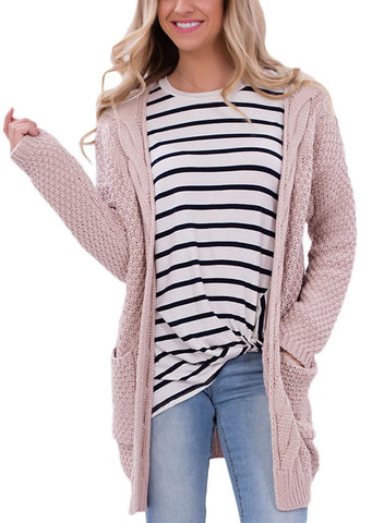 Image of Long Open Front Pocket Cardigan