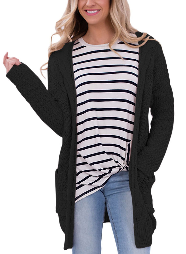 Long Open Front Pocket Cardigan