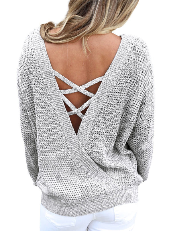 Cross Back Hollow-out Sweater (LC27685-11-1)