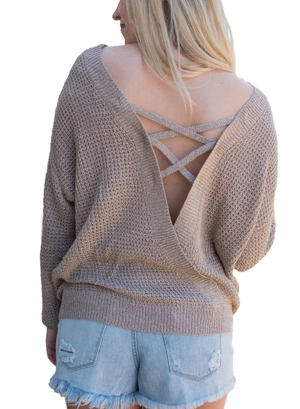 Cross Back Hollow-out Sweater (LC27685-16-1)