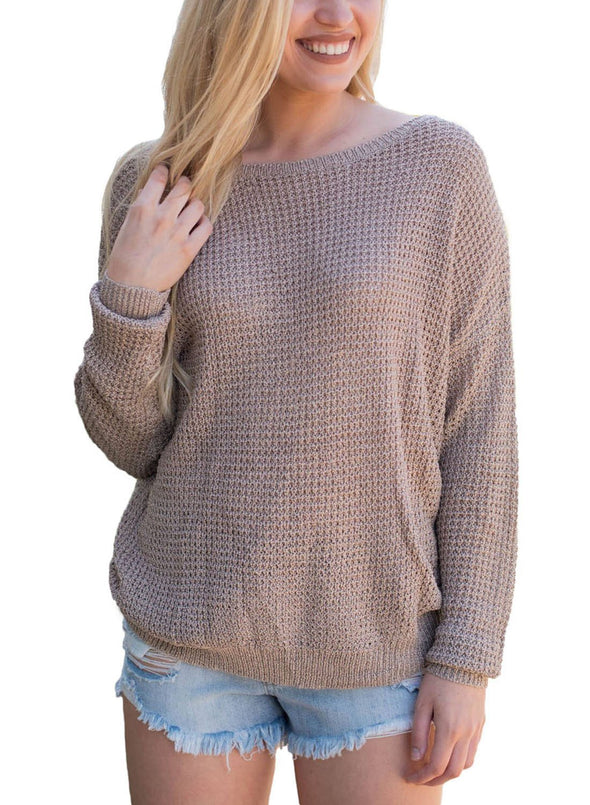 Cross Back Hollow-out Sweater (LC27685-16-2)