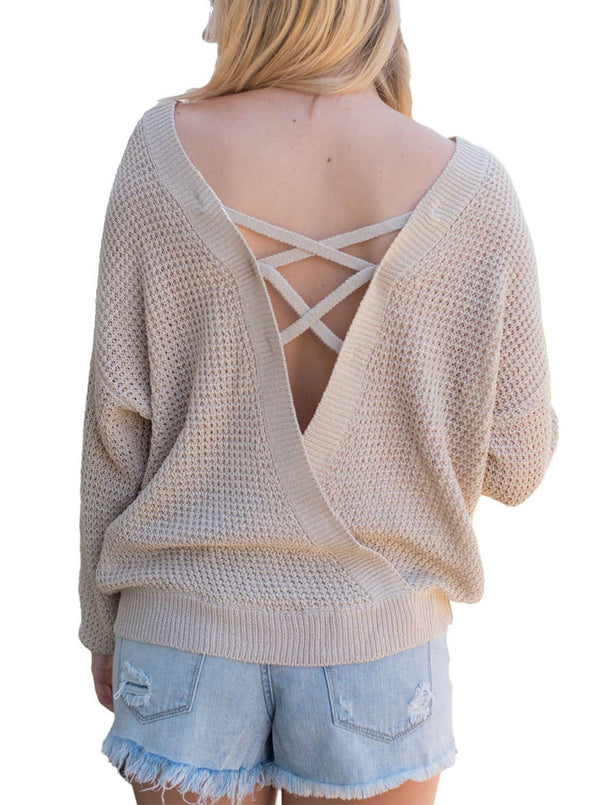 Cross Back Hollow-out Sweater (LC27685-18-1)