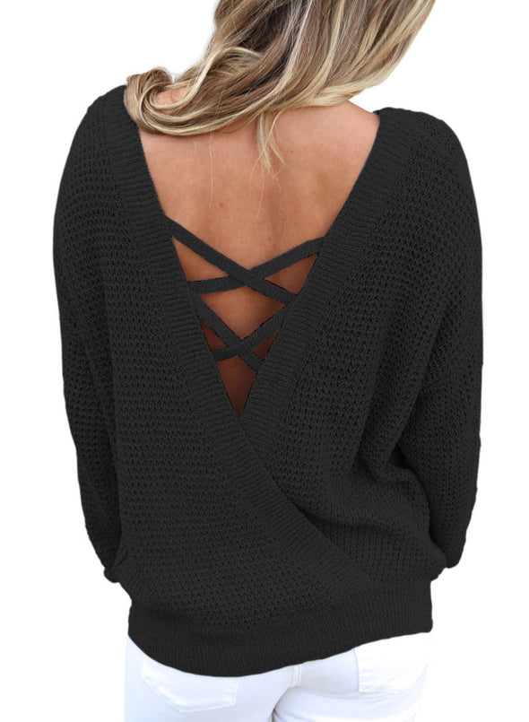 Cross Back Hollow-out Sweater (LC27685-2-1)