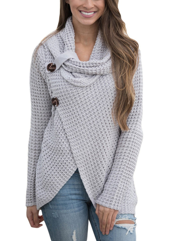 Buttoned Wrap Cowl Neck Sweater (LC27689-11-1)