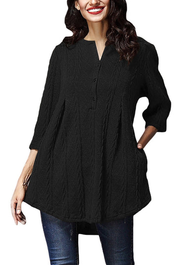 Cable Knit Button Neck Swingy Tunic (LC27750-2-1)