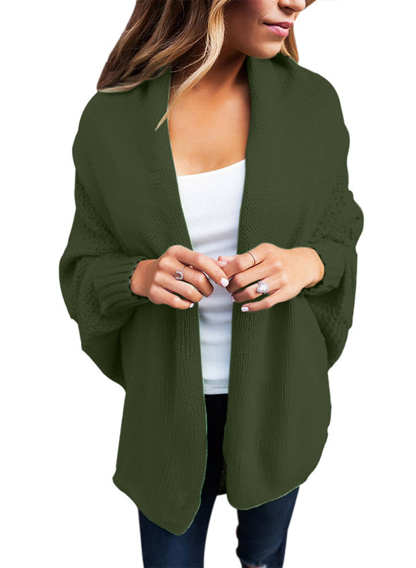 Chunky Knit Open Front Dolman Cardigan (LC27751-109-1)