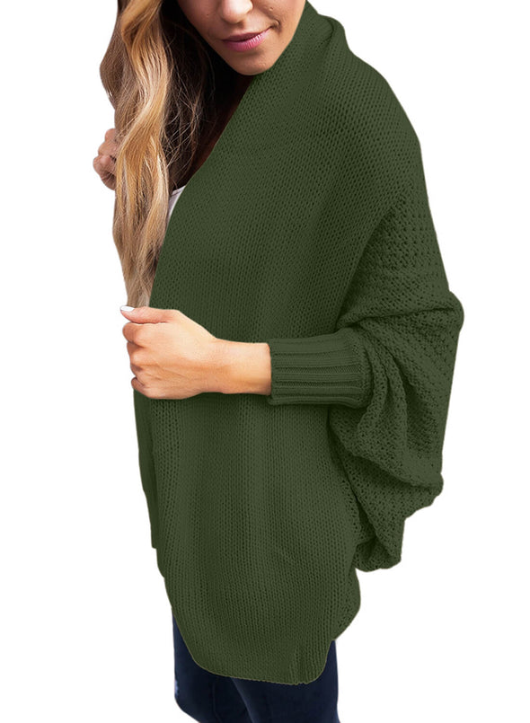Chunky Knit Open Front Dolman Cardigan (LC27751-109-3)
