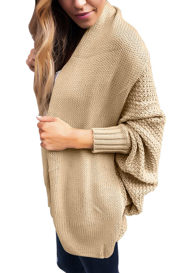 Chunky Knit Open Front Dolman Cardigan (LC27751-16-3)