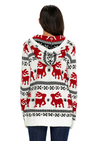 Cute Christmas Reindeer Knit Hooded Sweater (LC27785-1-2)
