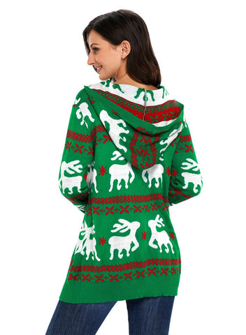 Cute Christmas Reindeer Knit Hooded Sweater (LC27785-9-2)