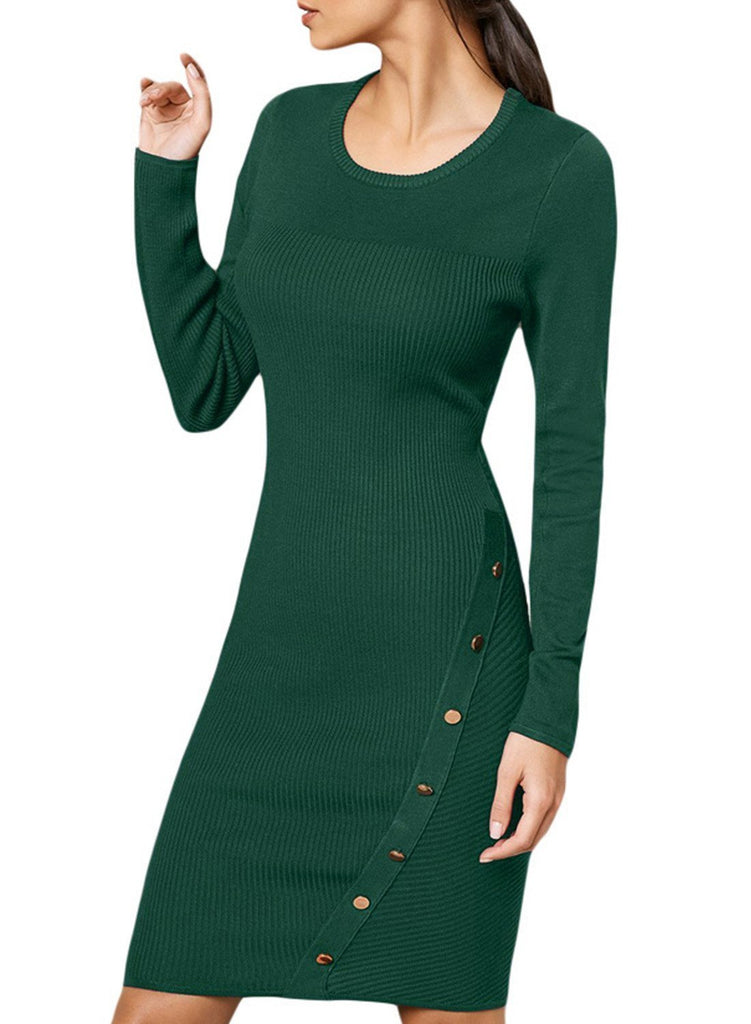 Button Detail Sweater Dress