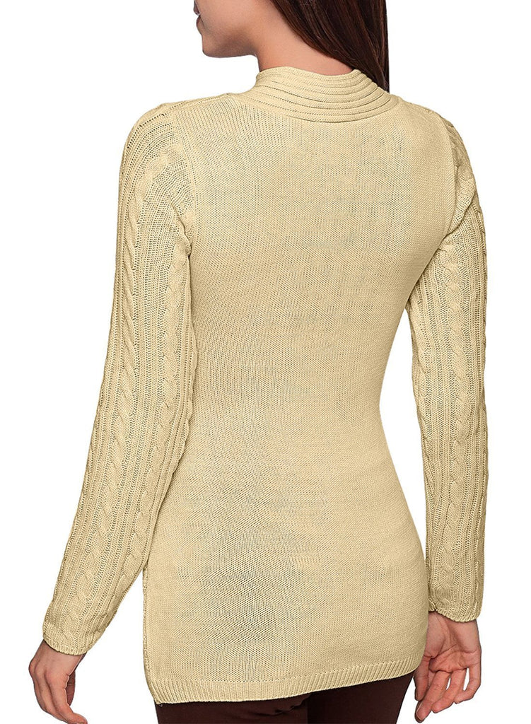 Buttoned Sweetheart Neck Cable Knit Sweater (LC27833-18-2)