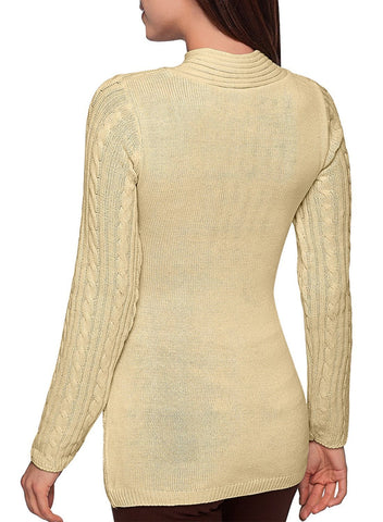 Image of Buttoned Sweetheart Neck Cable Knit Sweater (LC27833-18-2)