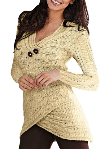 Image of Buttoned Sweetheart Neck Cable Knit Sweater (LC27833-18-1)