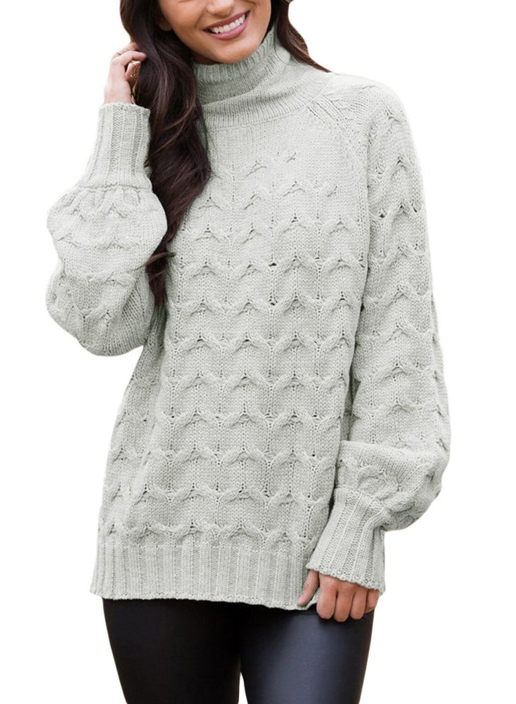 Cable Knit High Neck Sweater (LC27853-11-1)