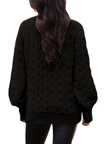 Image of Cable Knit High Neck Sweater (LC27853-2-2)