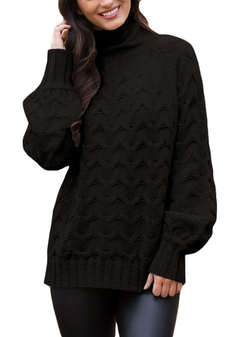 Image of Cable Knit High Neck Sweater (LC27853-2-1)