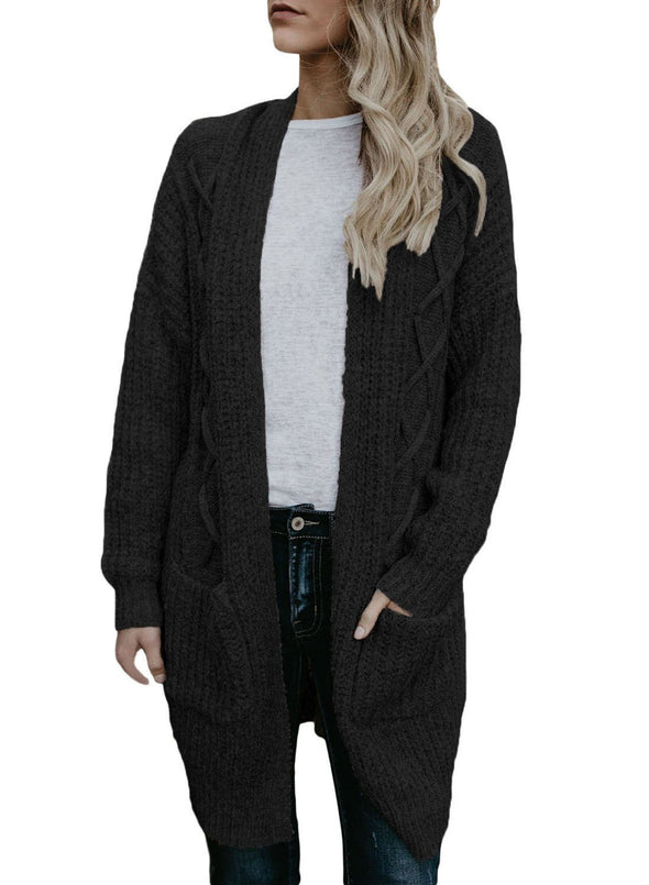 Pocketed Cable Knit Cardigan