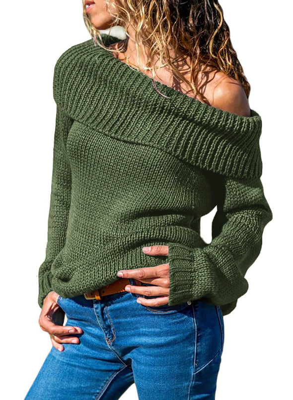 Turn-down Collar Show Shoulder Ribbed Sweater