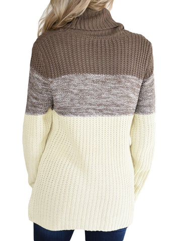 Image of Cowl Neck Color Blocked Sweater