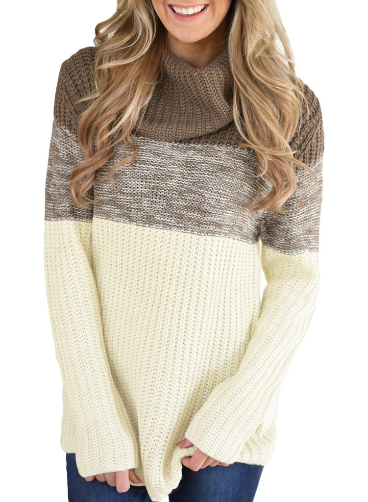 Cowl Neck Color Blocked Sweater (LC27944-17-1)