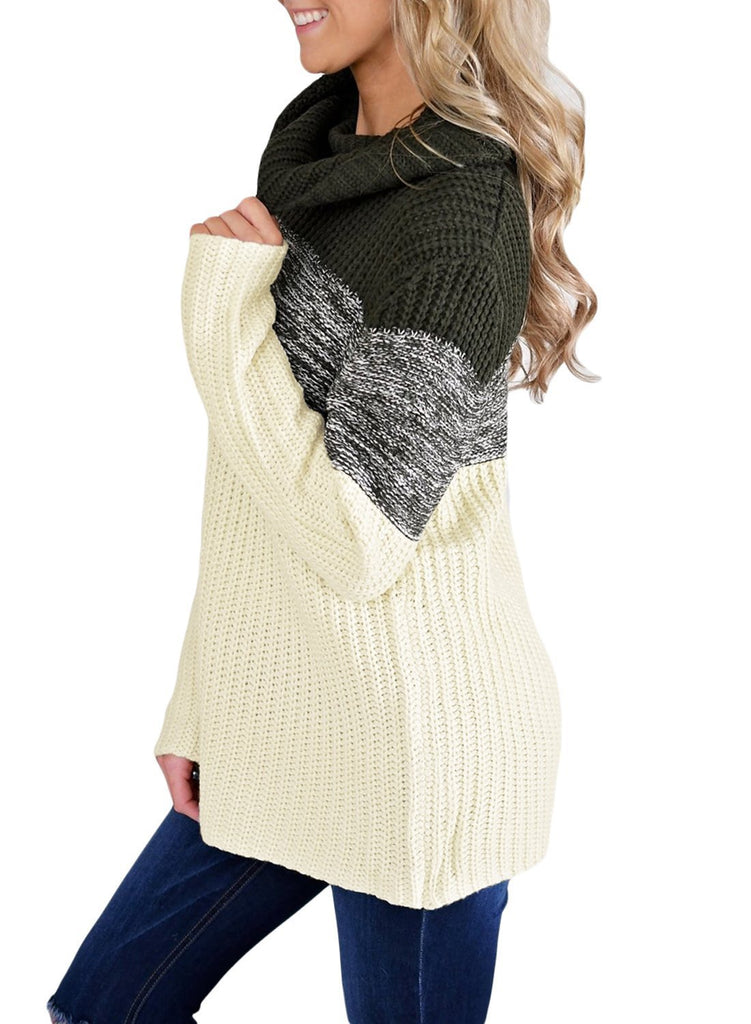 Cowl Neck Color Blocked Sweater (LC27944-2-4)