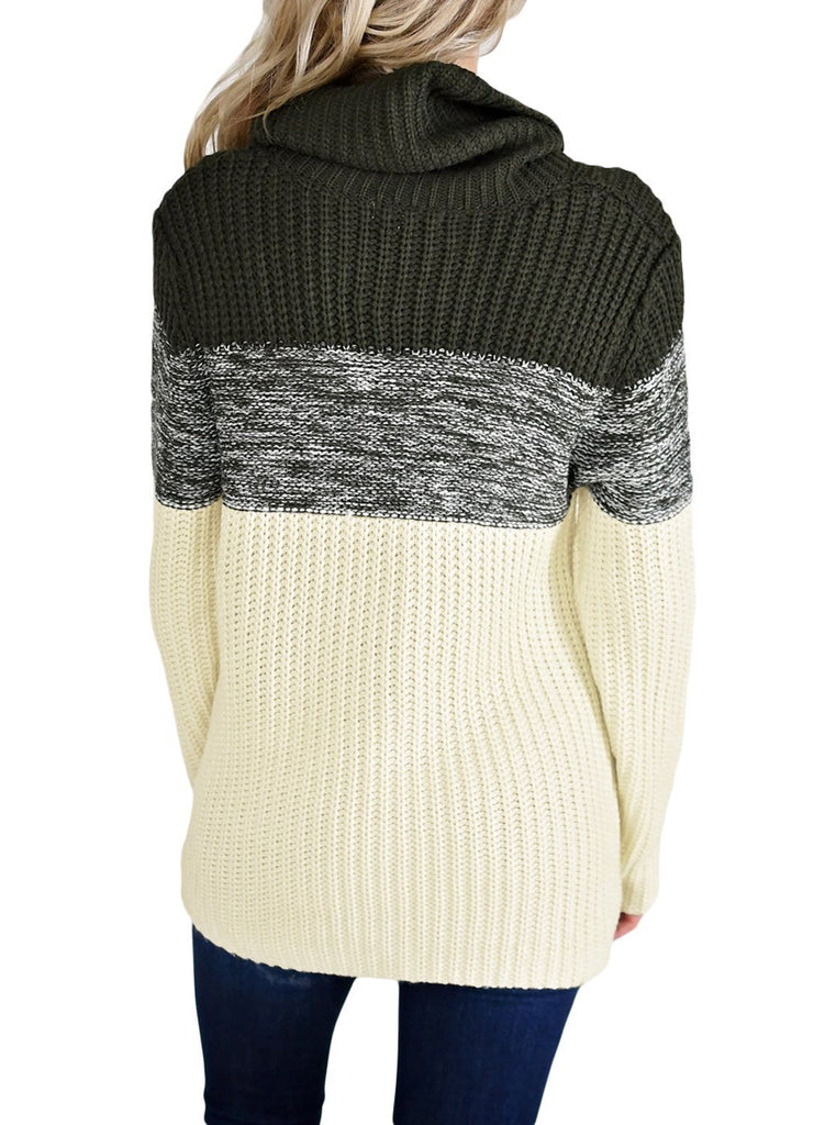 Cowl Neck Color Blocked Sweater (LC27944-2-2)