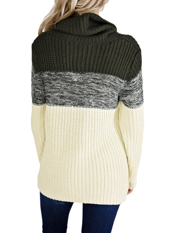 Cowl Neck Color Blocked Sweater