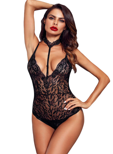 Sheer Lace Choker Neck Teddy Lingerie (LC32139-2-1)
