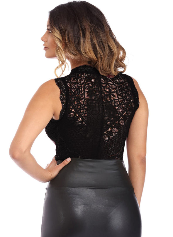 V Neck Hollow-out Lace Bodysuit (LC32247-2-2)