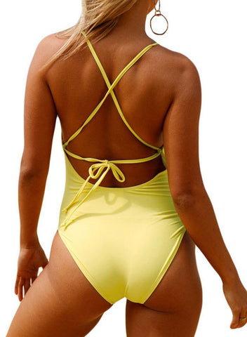 Image of Crochet Front Detail One Piece Bathing Suit (LC410196-7-2)