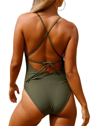 Crochet Front Detail One Piece Bathing Suit