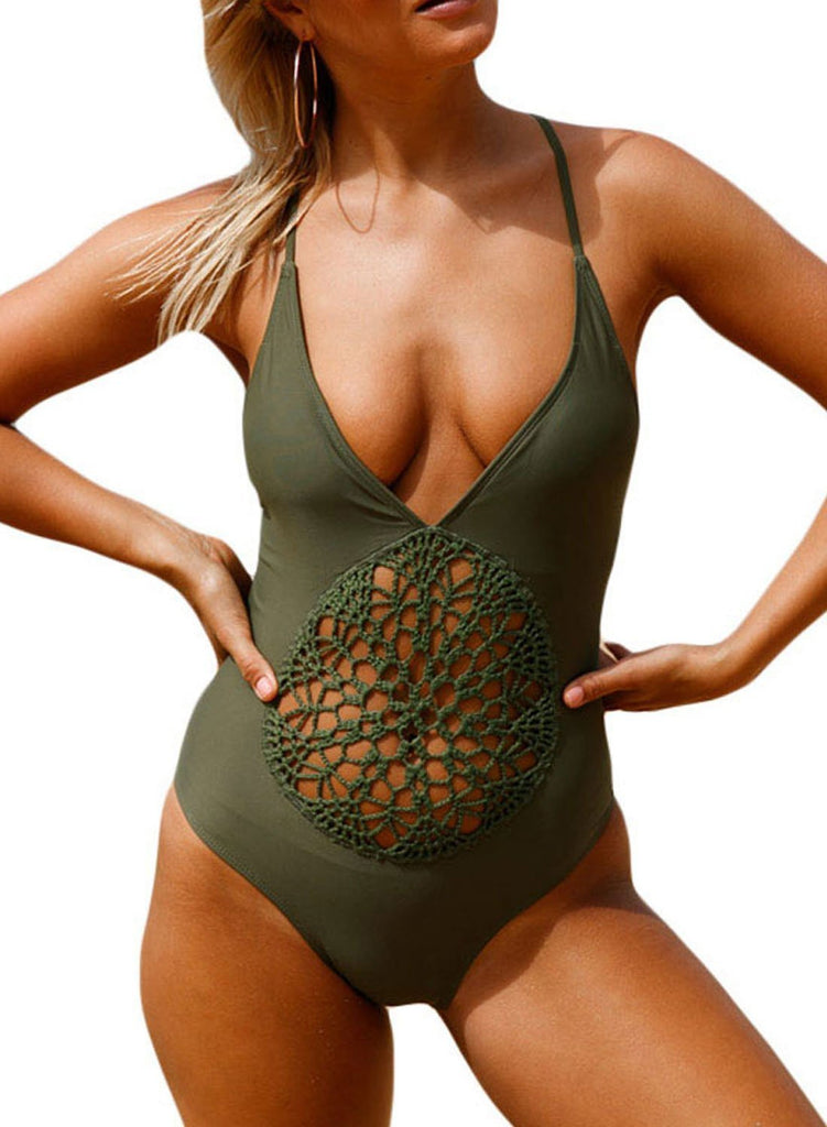 Crochet Front Detail One Piece Bathing Suit (LC410196-9-1)