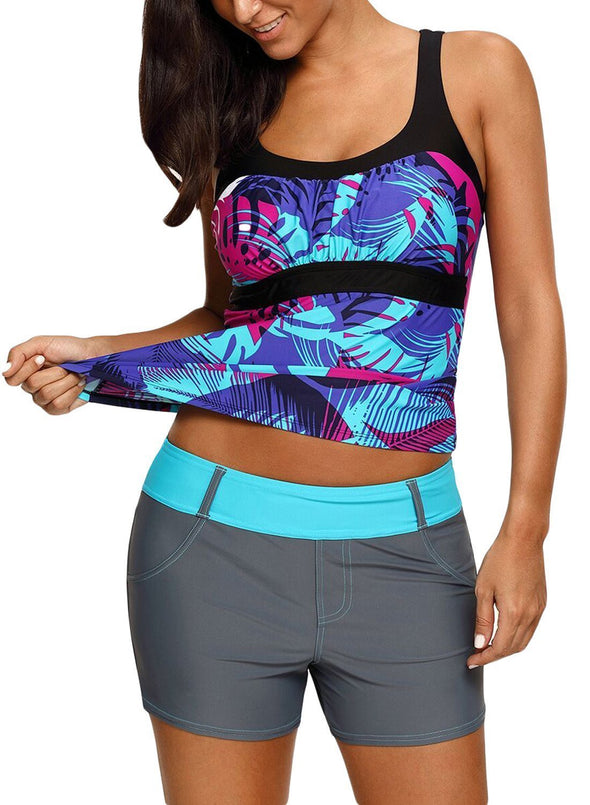 Abstract Printed Camisole Tankini Top (LC410452-5-3)