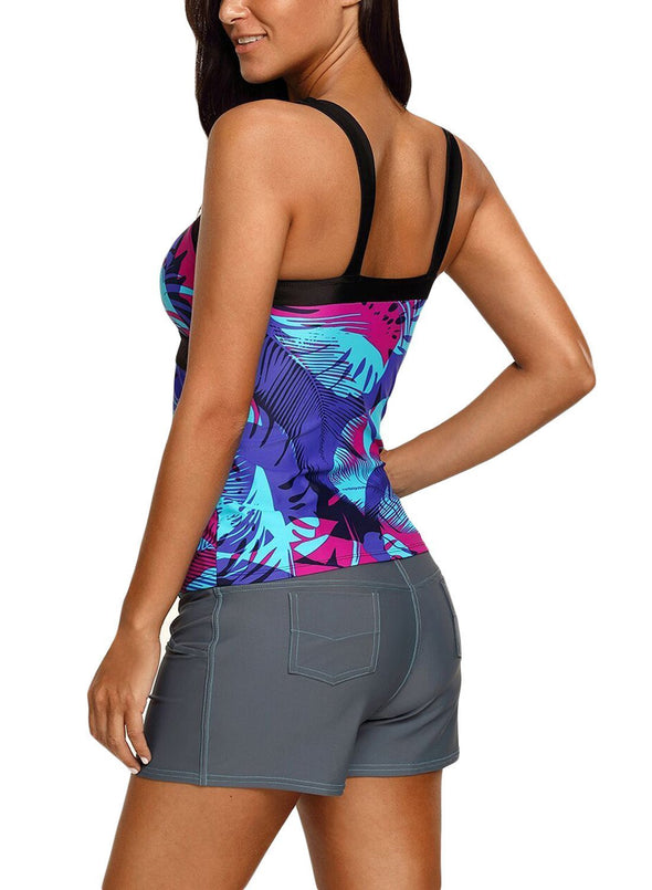 Abstract Printed Camisole Tankini Top (LC410452-5-2)