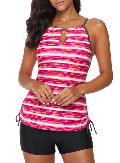 Printed Striped Tankini Two-Piece Suit(LC411011-3-1)