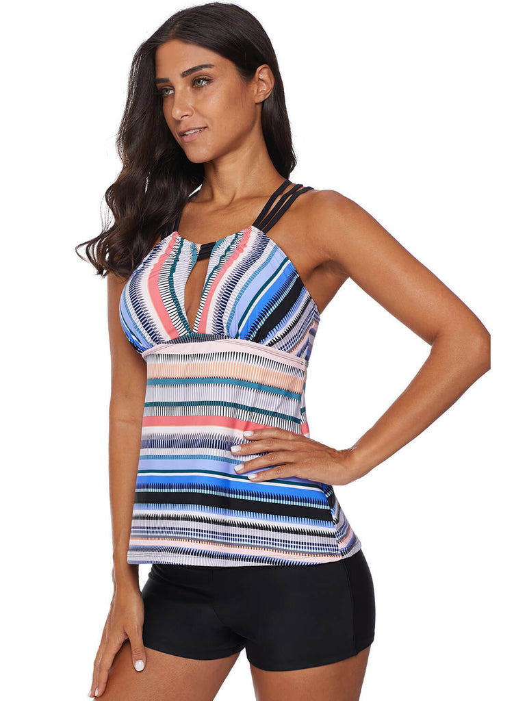 Cross Back Colorful Striped Swimsuit (LC411015-4-4)