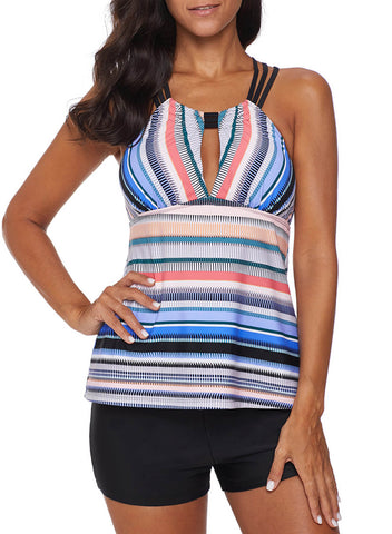 Image of Cross Back Colorful Striped Swimsuit (LC411015-4-1)
