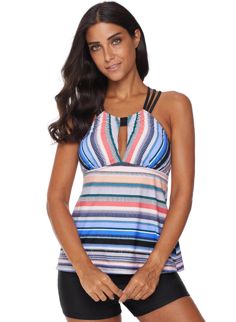 Cross Back Colorful Striped Swimsuit (LC411015-4-3)