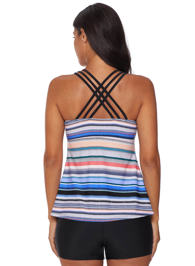 Cross Back Colorful Striped Swimsuit (LC411015-4-2)
