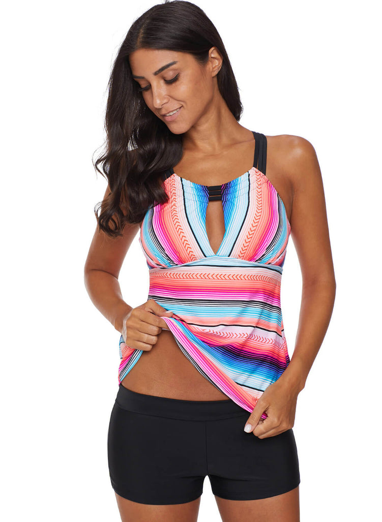 Cross Back Colorful Striped Swimsuit (LC411015-6-3)