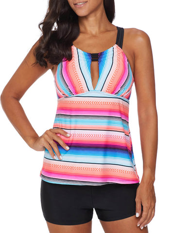 Image of Cross Back Colorful Striped Swimsuit (LC411015-6-1)