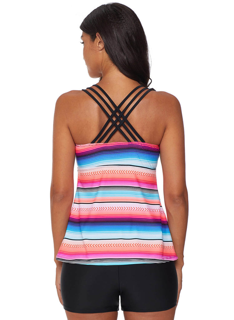 Cross Back Colorful Striped Swimsuit (LC411015-6-2)