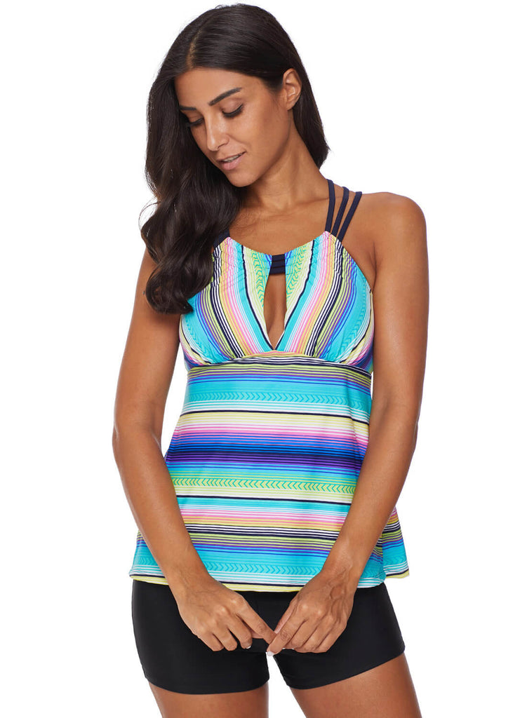 Cross Back Colorful Striped Swimsuit (LC411015-9-3)