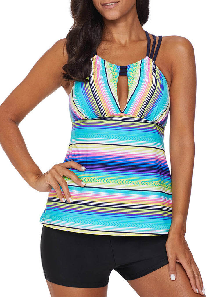 Cross Back Colorful Striped Swimsuit (LC411015-9-1)