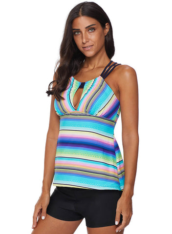 Image of Cross Back Colorful Striped Swimsuit (LC411015-9-4)