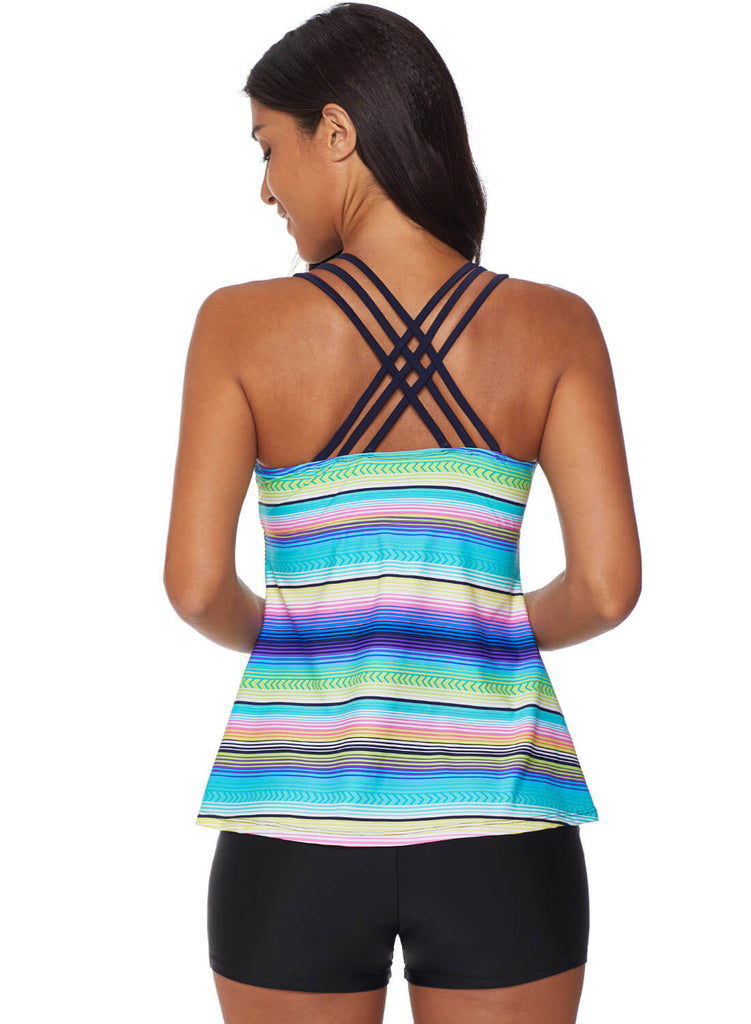 Cross Back Colorful Striped Swimsuit (LC411015-9-2)