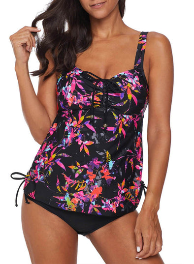 Printed Tie Belt Tankini Two-Piece Set(LC411020-2-1)